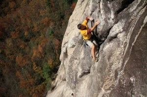 Climbing on Defective Sonar, Laurel Knob, North Carolina