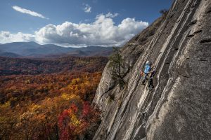 Arno climbing at Looking Glass, NC. Photo Credit: Fixed Line Media