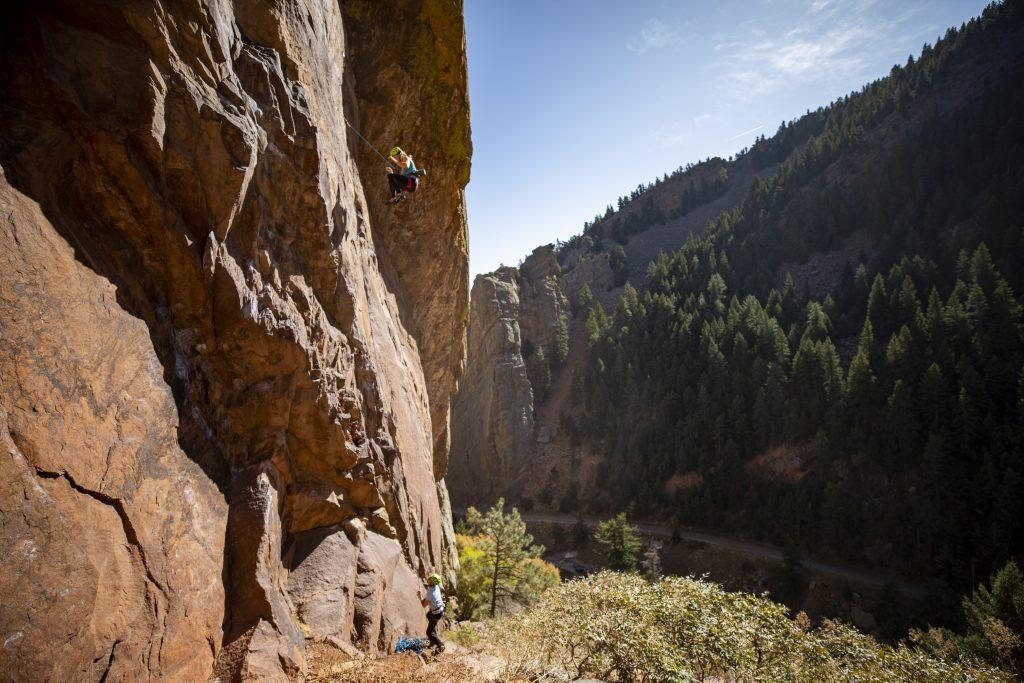 Molly Mitchell modeling for the course in beautiful Eldorado Spring Canyon, Colorado